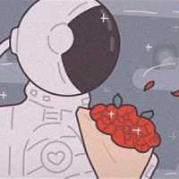捧花朵的动漫宇航员情人头像