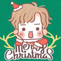 一对两张圣诞节卡通情人头像 美丽的圣诞节情人动漫头像