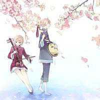 浪漫樱花树下的伴侣头像
